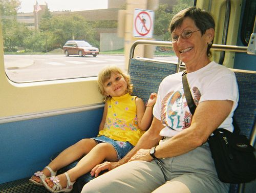 Rachel and Grandma on the light rail